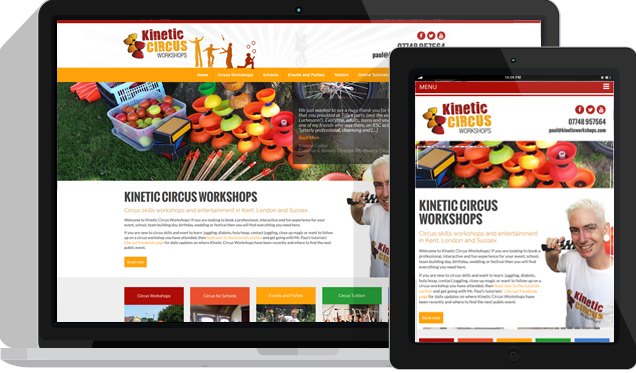 Kinetic Circus Workshops web design