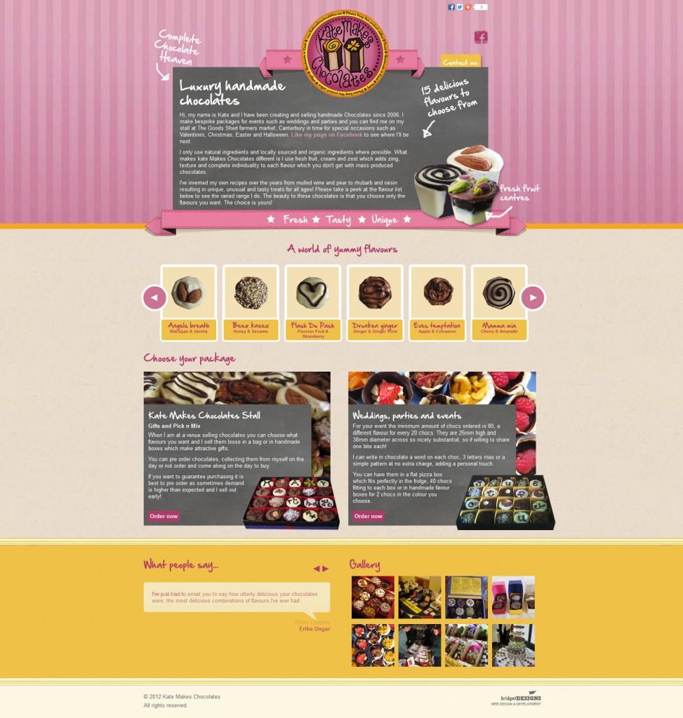 Kate makes chocolates web design by Bridget Designs
