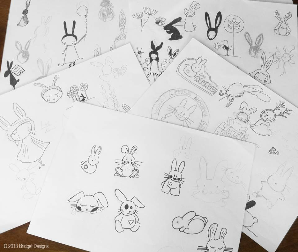 Sketches for Little Nounou Illustrated Logo