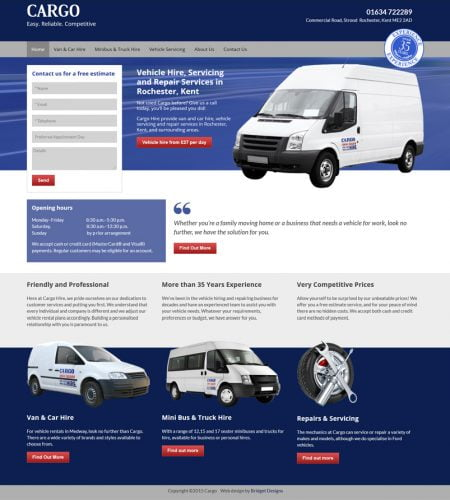 Cargo Hire Website Design