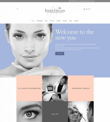 India Gillan - Makeup and Beauty Website Design Kent